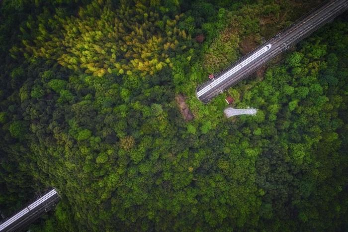 Категория: «Места». Автор снимка – китайский фотограф (Guanghui Gu), запечатлевший скоростной поезд, который проезжает через пещеру.