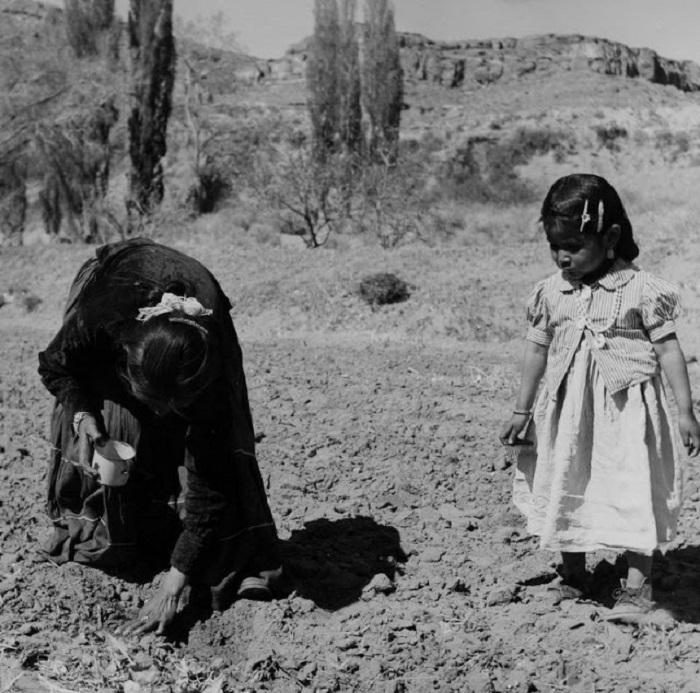 Мать учит дочку вести хозяйство. Недалеко от города Туба, Аризона, 1948 год.