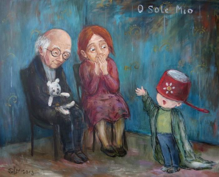 Жизнерадостные старички радуются артистичности внука.