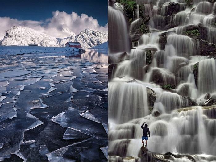 Озеро на Лофотенских островах и водопад.