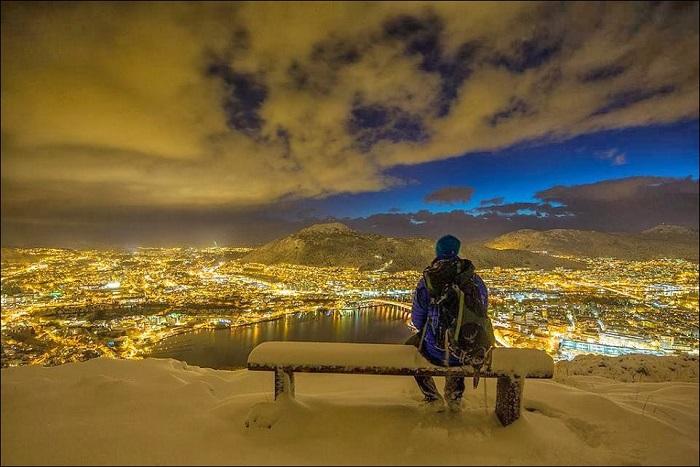 Красота ночной Норвегии.