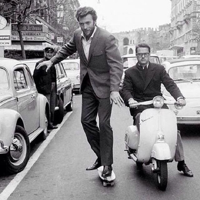 Положительный герой вестернов, на улице Рима.