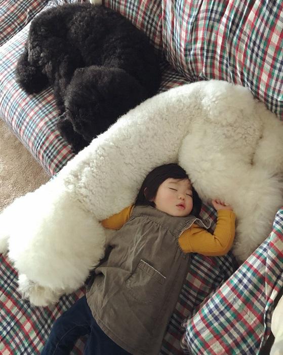 Спать пора, уснула Маме - лягу рядом, чтоб не упала.