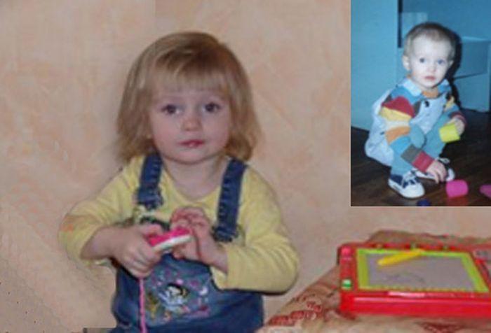 Катя, освоившаяся в родном доме и в подмосковном детском доме малютки.
