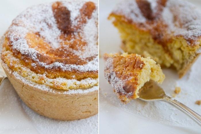 Песочное тесто заполненное ванилью, цедрой лимона, миндалем и изюмом.