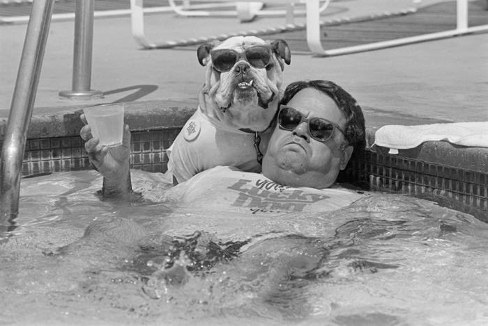 Джон Биссилья расслабляется в бассейне со своим английским бульдогом Айком.