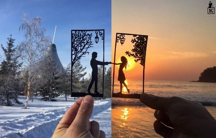 Художник вырезает бумажные силуэты во время своих путешествий.