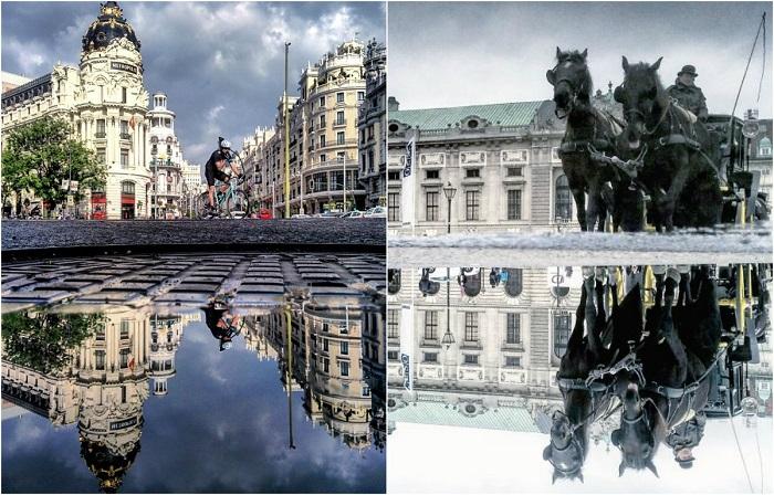 Зеркальные отражения городов в лужах.