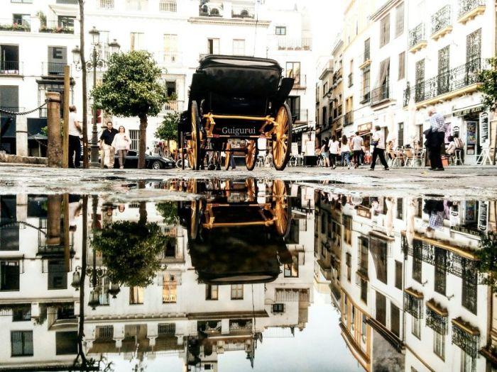 Завораживающий перевернутый мир в дождевых лужах – взгляд с необычной перспективы 27-летнего фотографа-путешественника.