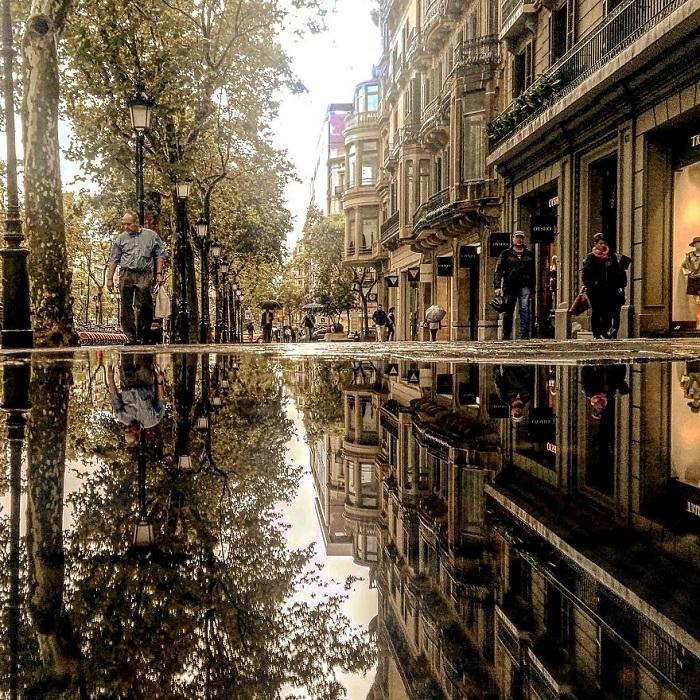 Фотографу не всегда удается найти огромные лужи для своих «зеркальных» снимков, поэтому он очень умело использует даже маленькие лужицы размером с ладонь.
