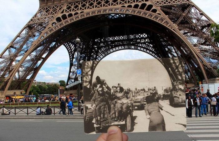 Фотографии,  иллюстрирующие насколько Париж изменился в течение прошлого века.