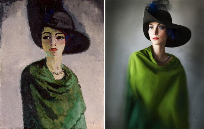 Стилизованный портрет «Женщина в черной шляпе», выполненный нидерландским художником Кесом Ван Донгеном, 1908 год.