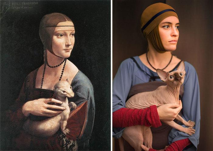 Известная картина «Дама с горностаем», на которой, предположительно, Леонардо да Винчи изобразил любовницу Людовико Сфорца, 1489 г. - 1490 г.