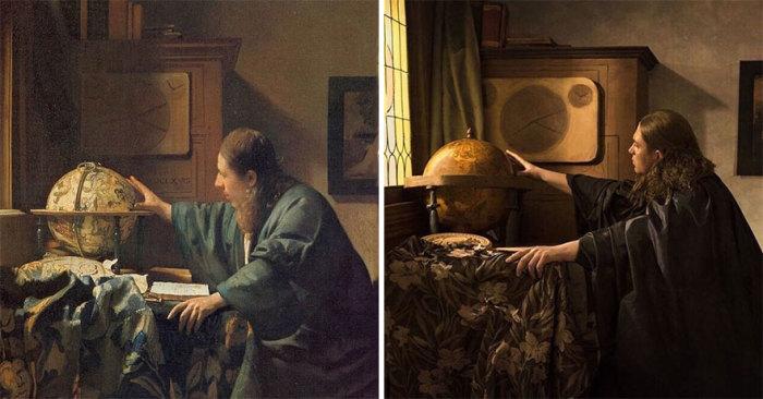 Картина «Астроном» нидерландского художника Яна Вермеера, моделью для которой стал разработчик микроскопа Антоний Ван Левенгук, 1668 г. – 1669 г.