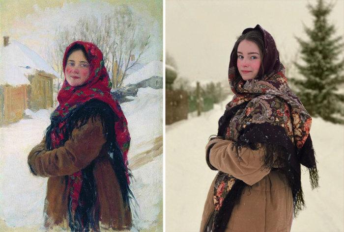 Картина «Крестьянская девушка» российского художника-живописца Федота Сычкова 1900 г. – 1917 г.