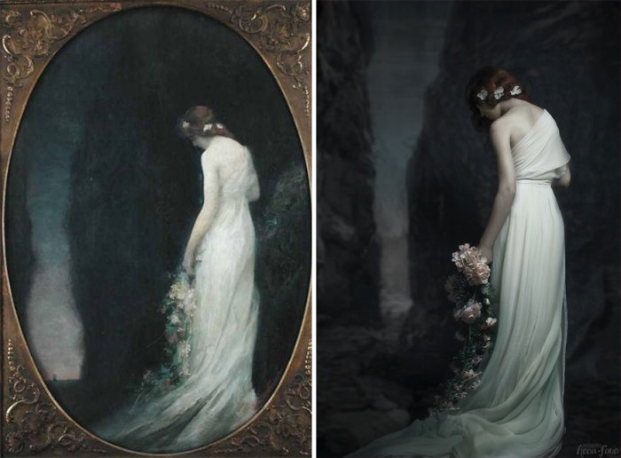 Картина с женской фигурой французского художника Габриэля Ферье под названием «Вечер», 1911 год.