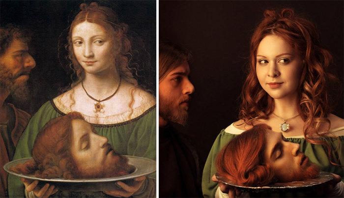 Фрагмент картины итальянского художника-леонардеска Бернардино Луини «Саломея с головой Иоанна Крестителя», 1525 г. - 1530 г.
