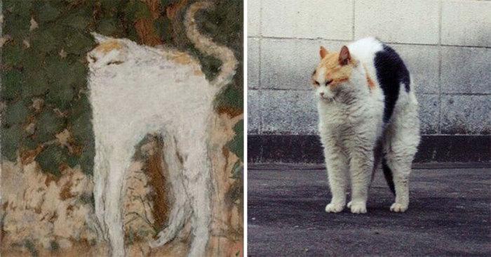 Картина «Белый кот», выполненная в жанре анималистики французским живописцем и графиком Пьером Боннаром, 1894 год.