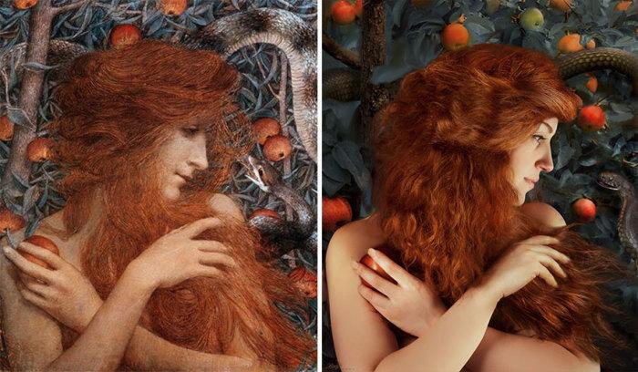 Чувственная картина с рыжеволосой Евой австрийского художника Густава Климта «Змей-искуситель».