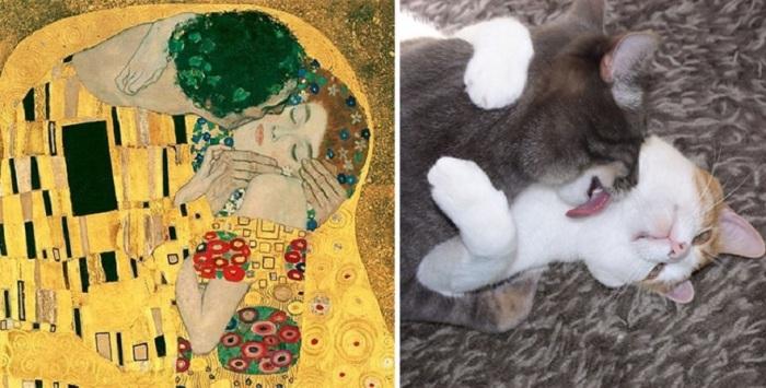 Знаменитое полотно австрийского художника Густава Климта «Поцелуй», написанное с использованием сусального золота, 1907 г. - 1908 г.