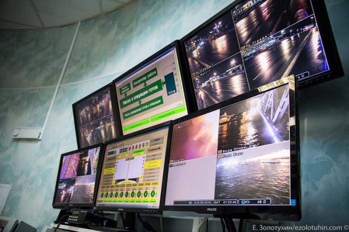 С помощью многочисленных камер наблюдения, оператор контролирует безопасность подъема-опускания крыльев моста.
