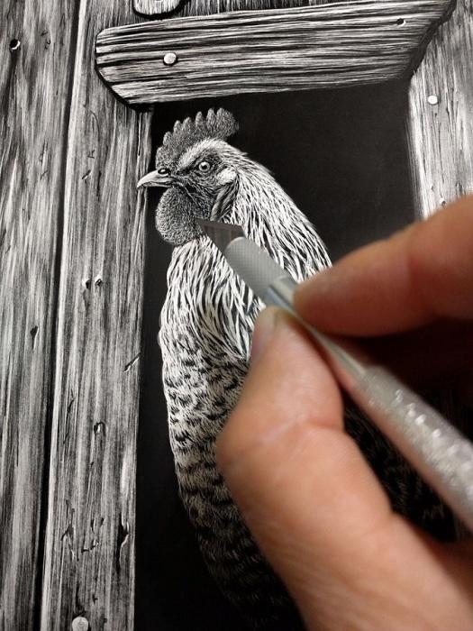 Гиперреалистичные портреты животных в технике скретчборд