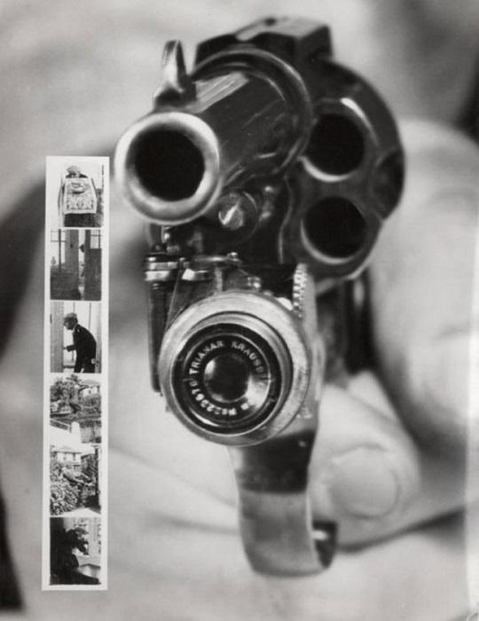 Фоторевольвер, снимающий при нажатии на курок, (1938 год).