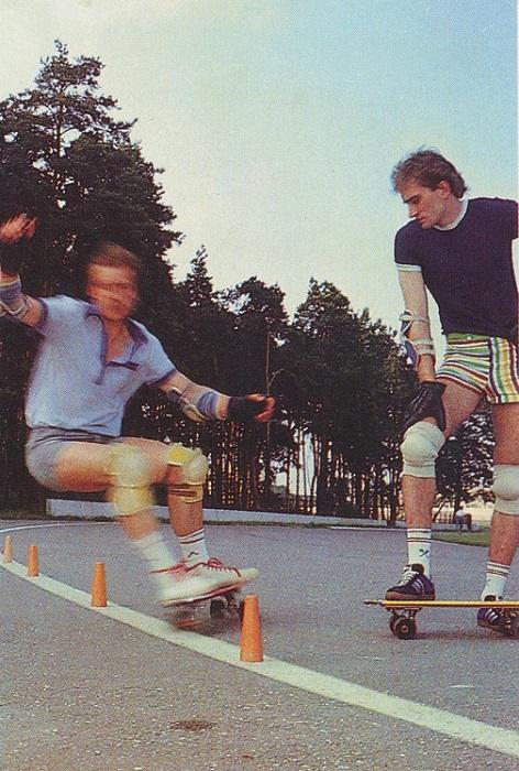 Самый модный в 80-е годы скейтбординг на Бикерниекской спортивной базе отдыха.