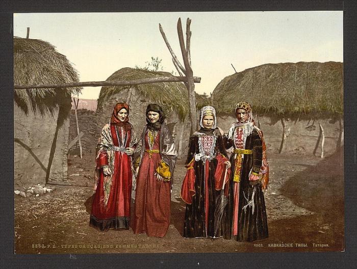 Кавказские и татарские женщины в национальных костюмах, 1863 год.