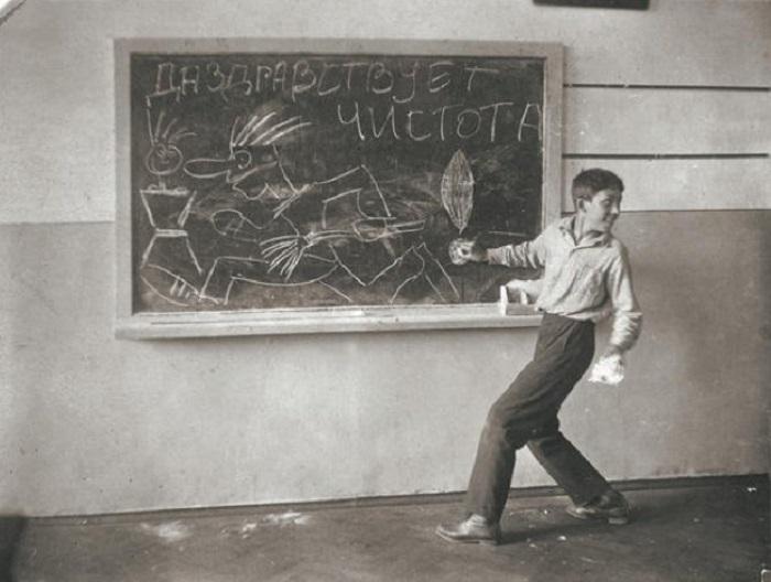 Юрий Никулин в школе.