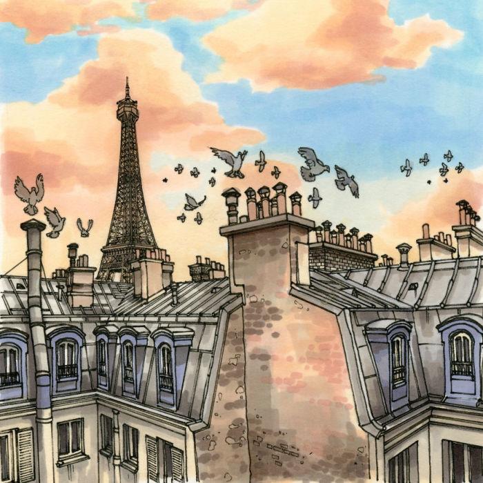 Голуби, парящие над парижскими крышами.