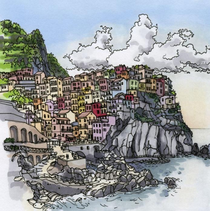 Небольшой старинный живописный городок уютно расположился на крутых скалах.