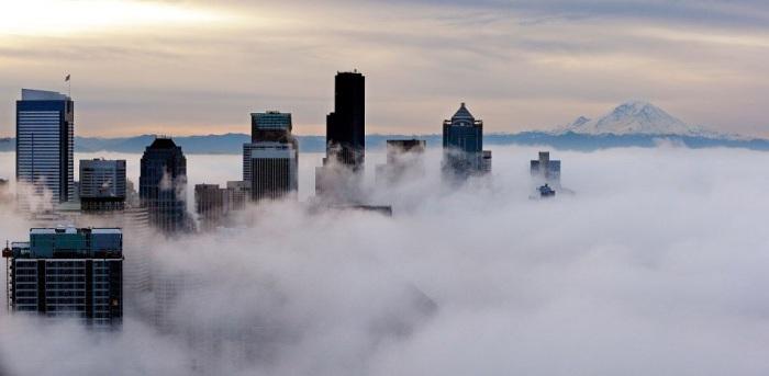 Небоскребы Сиэтла возвышаются над густым туманом. Фотограф Элейн Томпсон (Elaine Thompson).