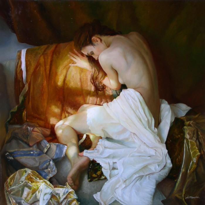 Художник в этой картине представил свое видение красоты женского тела.