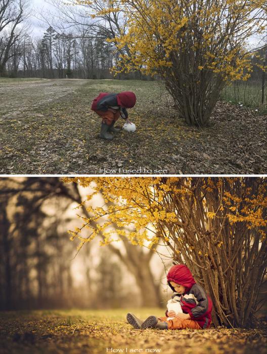 Свет имеет огромное значение – на первом снимке просто мальчик и кролик, а второй больше похож на иллюстрацию к осенней сказке.