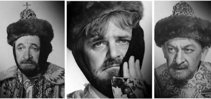 Фотопробы Евгения Лебедева, Юрия Яковлева и Евгения Евстигнеева на роль Ивана Васильевича.