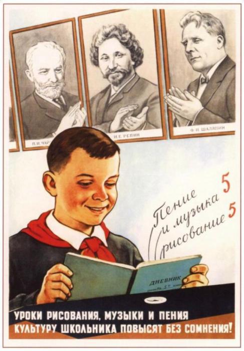 Плакат Виктора Говоркова 1959 года обращает внимание на «второстепенные» предметы, необходимые для повышения общего культурного уровня школьника.