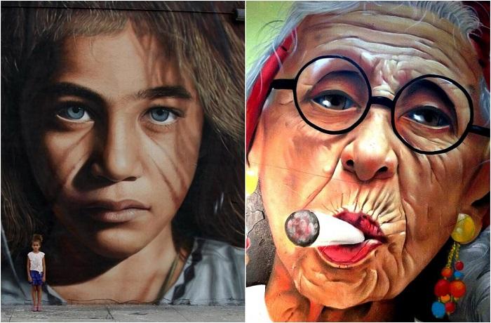 Красочные работы уличных художников.