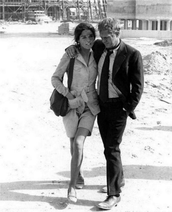 Американская актриса Эли Макгроу (Ali MacGraw) и киноактер Стив Маккуин (Steve McQueen) на съемках фильма «Побег».