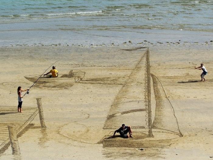 Оригинальные 3D-рисунки, сделанные новозеландскими художниками на песке.