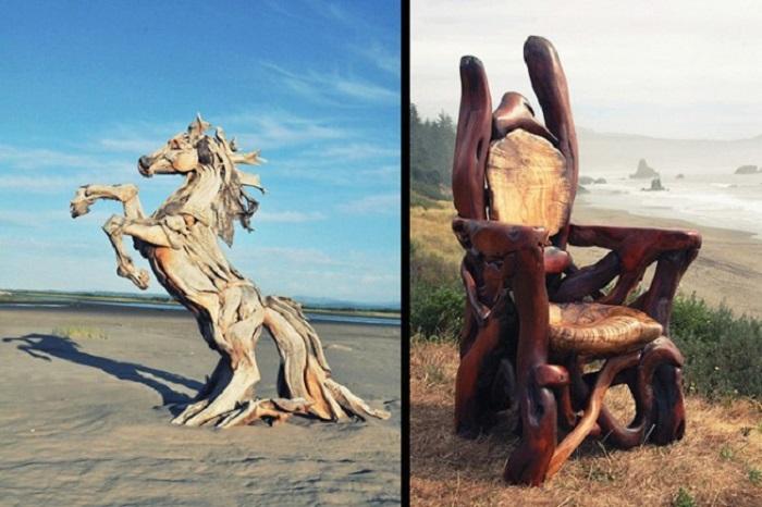 Джеффро создаёт скульптуры из коряг, найденных на побережье океана штата Вашингтон.
