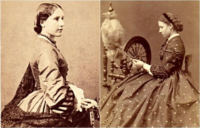 Девочки-подростки в модных платьях 1860-х годов.