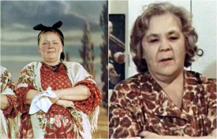 В ленте советская актриса появилась в небольшой роли пышной птичницы Христофоровны с обаятельной улыбкой.