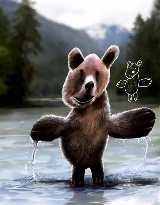 Медведь с лапами похожими на крылья.