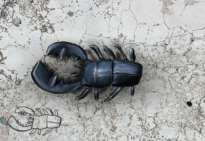 Несимметричный жук вполне похож на настоящего.