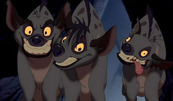 Гиены : Шензи, Банзая и Эда.