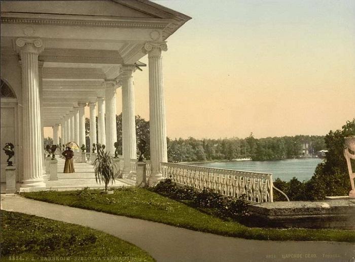 Камеронова галерея расположена на границе Старого сада и пейзажного парка.