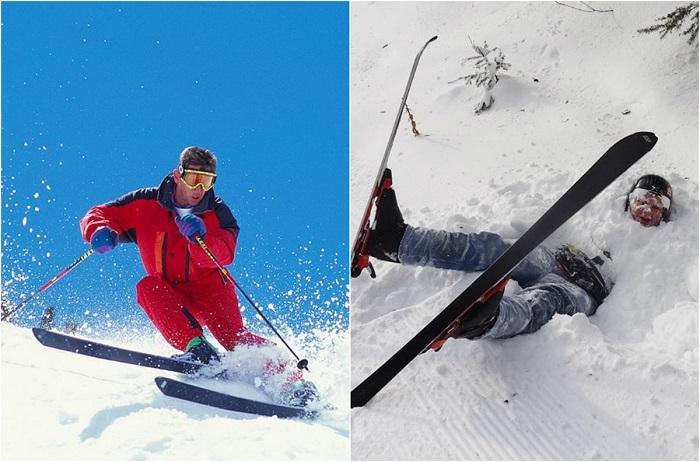Катание на лыжах сопровождается частыми падениями, что небезопасно, но очень весело.