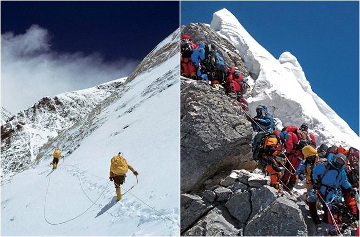 Все хотят подняться на вершину мира, но с каждым шагом продвижение выше становиться все тяжелее и тяжелее, здесь альпинисты, начинают сбиваться в очереди.