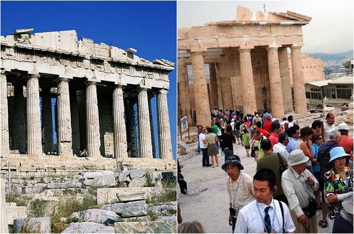 Пережив столько веков, храм Афины и до сегодняшнего дня даже не в идеальном состоянии поражает туристов.